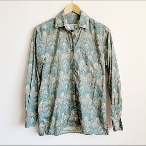 lightweight cotton peacock feather print blouse